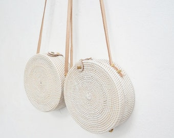 Womans White Round Straw Bag. Woven straw bag. Round Rattan Bag LARGE & MEDIUM size