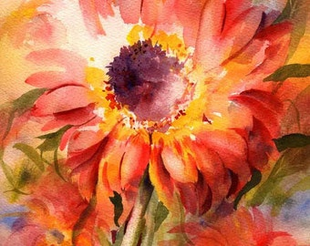 Red Daisies Watercolor Painting Print by Connietownsart, Original Watercolor Print, Daisies Art, Matted to 11x14, Gift for her, Daisies art