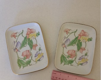 2 vintage japan ben rickert rectangular plates / dishes in sweat pea floral pastel colors - fine porcelain china hand painted - art pottery