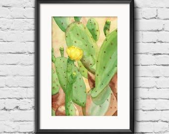 Prickly Pear Cactus Print from Original Watercolor