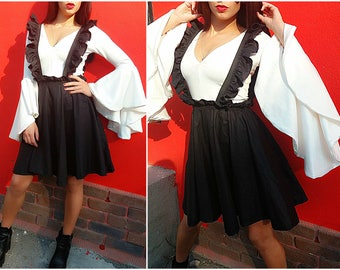Ruffle overalls / Fashion overalls /Black skirt with ruffle galluses