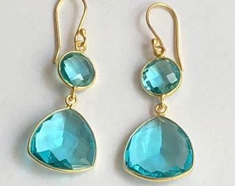 blue quartz sterling silver gold plated handmade dangleearring