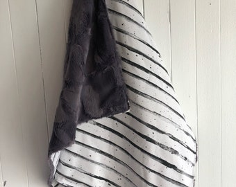 "Limited edition, blanket, 28x40 "" or 40x50"", one side grey stripes cotton, charcoal fake fur for the back side."