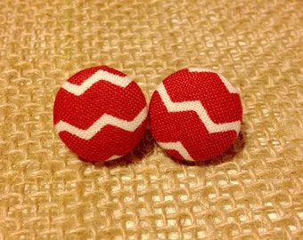 Red Chevron Button Earring