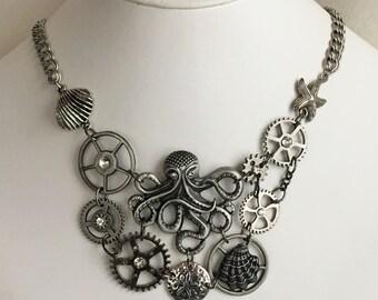 Clockwork Kraken in Mixed Silvers Steampunk Bib Necklace