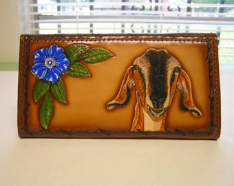 Leather Ladies Wallet with Wood grain Pattern on front and Nubian Goat, blue flower and wood grain design.