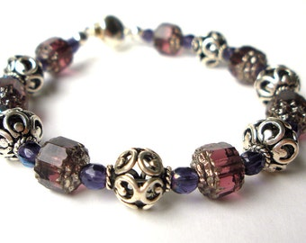 Sterling Silver and Purple Cathedral Glass Beads Handmade Bracelet