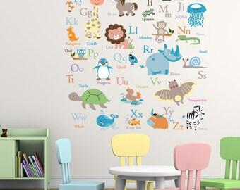 Vinyl Wall Decal   ABC Wall Decal - Animal Alphabet Decal - Nursery Wall Decal