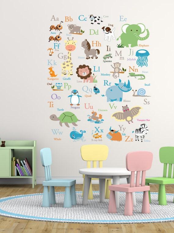 Vinyl wall decal abc wall decal animal alphabet decal