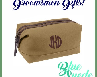 Canvas with Leather Accent Toiletry Bags - Groomsmen Gift | Groomsmen Bag | Military Style | Dopp Bag | Men's Toiletry Bag