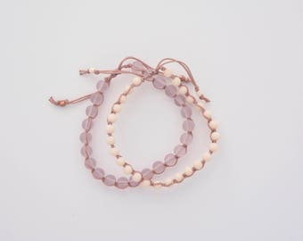 Light pink sea glass stacking adjustable bracelet set