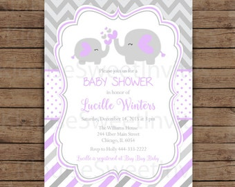 Printable Purple and Gray Elephant Baby Shower Digital Invitation, JPEG 300DPI in 5 x 7 OR 4 x 6 inch