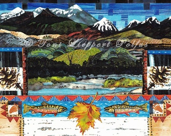 Yellowstone Trout Painting, Lodge Decor, Mountain Art, Folk Art, Yellowstone National Park, Wildlife Art, Montana Painting, Colorado Print