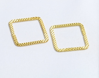 Gold Plated Square Charms, Geometric Pendant, Modern Pendant Jewelry Supplies,Patterned Square Pendant, Charms,SKU/AK67
