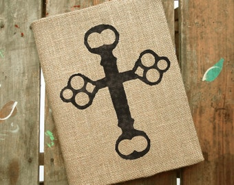 Skeleton Key Cross-  Burlap Feed Sack Journal Cover w. Notebook
