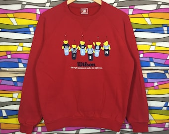 Rare!! Vintage WILSON Big Logo Spellout Crewneck Red Colour Sweatshirt