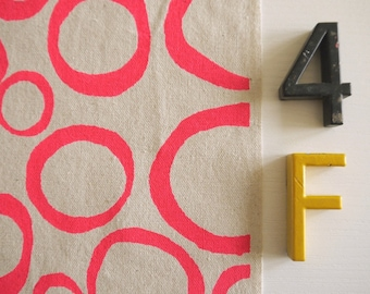 Loops - hand screen printed fabric for patchwork, sewing, embroidery, crafting & framing in neon + metallic colours/colors