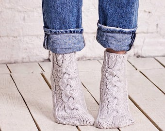 Wool socks women Cable socks Grey knitted socks Bed socks Merino wool socks Hand knitted socks Home socks Chunky socks Birthday womens gift