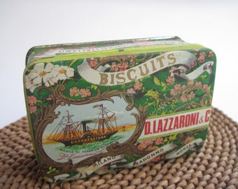 Vintage Lazzaroni Biscuit Tin Italy