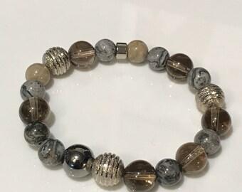 Smokey Quartz, Silver and Crazy Lace Agate Stretch Bracelet