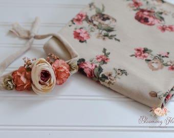 Fall Floral wrap and tieback set, Newborn Floral Photo prop set, Newborn Photography Prop, Floral wrap, Newborn tieback.
