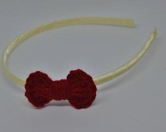 Crochet Mini Bow Headband - Red Mini Bow on an Ivory Satin Wrapped Headband