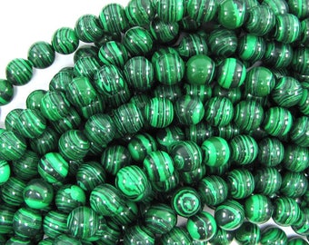 "8mm synthetic green malachite round beads 15.5"" strand 30387"