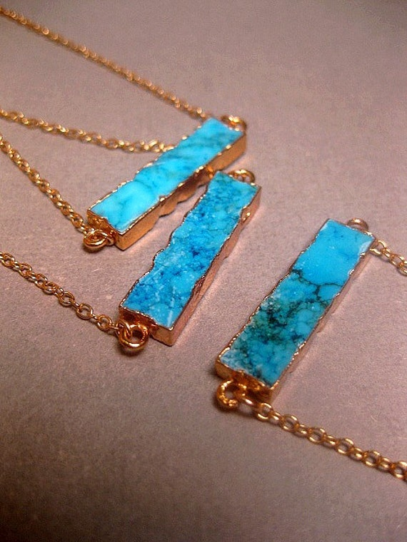 18612e6e3fd2a Turquoise Jewelry Howlite Bar Necklace - 24k Gold Electroplated Edging -  Gold Filled Chain Optional - Custom Chain Length - Christmas Gift