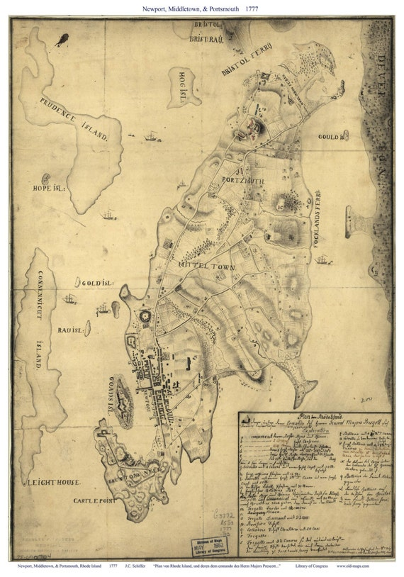 Newport Middletown Portsmouth RI 1777 Military Map by