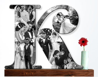 Wooden Letter, Custom Photo Collage Letter, Wooden Letter Photo, Personalized Gift, Wedding Gift, Wife Gift, Family Gift