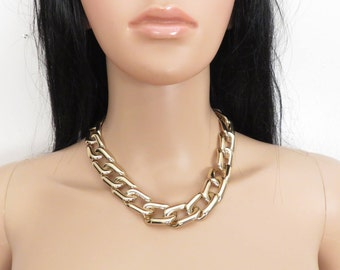 Chunky Gold Curb Chain Necklace
