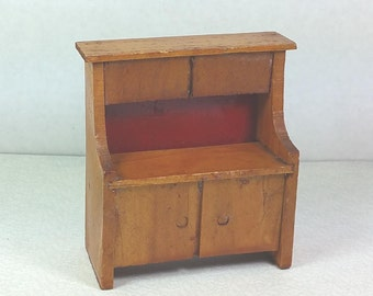 "MINIATURE WOOD CUPBOARD, Sliding Chipboard Back, 3/4"" Scale, Vintage Dollhouse Furniture"