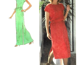 1970s Dress Pattern Jiffy Simplicity Side Slits Pullover Knit Dress Uncut Vintage Sewing Women's Misses Size 14 - 16 Bust 36 - 38 Inches