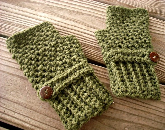 Crocheted Fingerless Gloves Mittens - Green Fingerless Gloves in Loden Green - Green Gloves Green Mittens Womens Accessories
