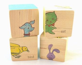 Animal Puzzle Blocks - New Domesticated Animals, Dog, Cat, Rabbit & Bird