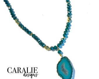 teal + gold beaded necklace