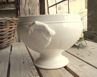 Antique White Tureen - French Serving Bowl - Ironstone Tureen - Handled Soup Dish - Grapevine Decor - Choisy le Roi - Made in France