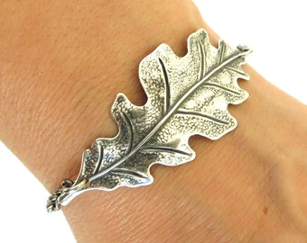 Steampunk Oak Leaf Bracelet Sterling Silver Ox Finish