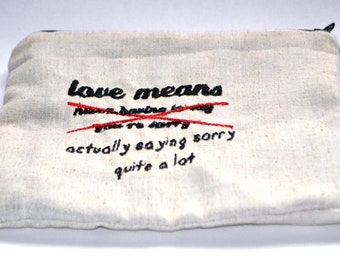 Love means... // pouch // make up bag // pencil case