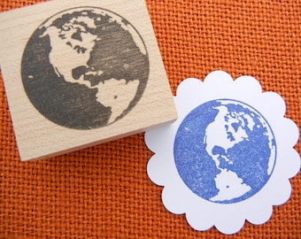 Earth Rubber Stamp / Planet Rubber Stamp - Handmade by BlossomStamps