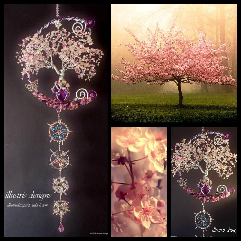 Kirschblüte Draht Baum Skulptur / Windspiel Suncatcher /Art