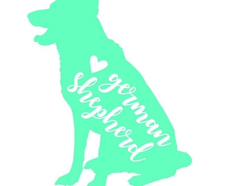 German Shepherd Sitting Decal | Dog Decal | Pet Decal | Personalized Decal | Yeti Cup Decal | Car Decal | Laptop Sticker | Window Decal