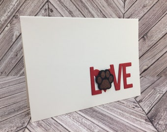 paw print card, love card, dog mom, cat mom, mother's day, father's day, pet birthday, pet thank you, paw print