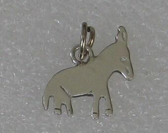SALE Vintage Sterling Silver Primitive Burro Donkey  Charm 15mm