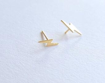 Dainty lightning Earrings, Lightning bolt Earrings, Tiny lightning  studts, lightning Jewelry, Thunderbolt earrings, Holiday gift for girls