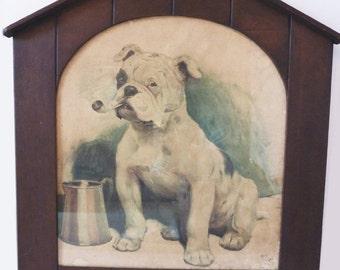 Rare Cecil Aldin Lithograph Of Bulldog Smoking Pipe In Original Kennel Frame