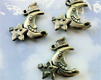 Happy Moon with attached Happy Star Charms -4 pieces-(Antique Pewter Silver Finish)--style 686--