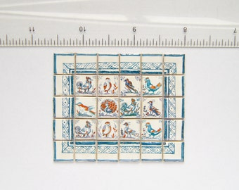 Dutch Delft Birds - Hand painted Miniature wall mural
