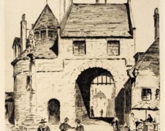 "1933 Listed Artist Ernest A. Melchert ""Belgian Villiage"" Signed and Titled by Melchert"