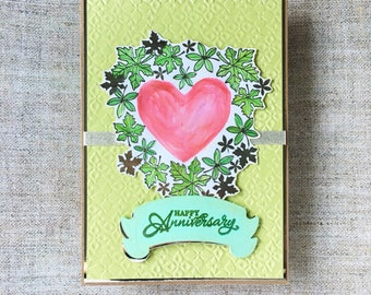 Anniversary card in green - hand painted heart and leaves wreath - 3D card - designer card - elegant anniversary greetings - bright texture